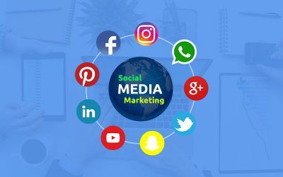 a lead generation social media inforgraphic with blue background