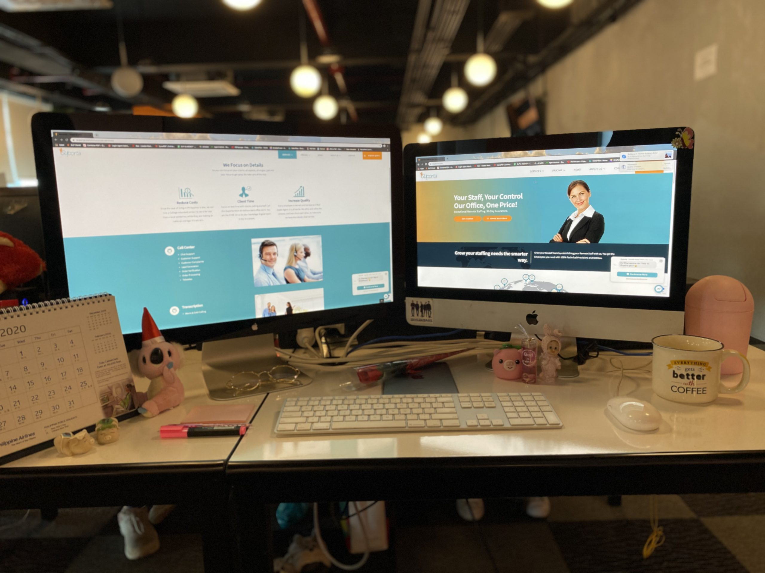 2 Computer Monitors in a Remote Office