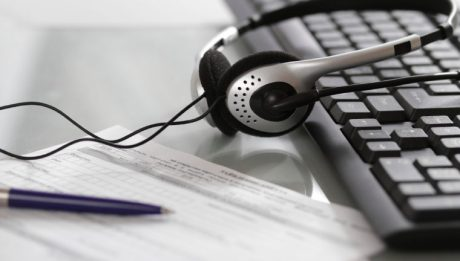 headset and keyboard, used by Remote Outsourced Transcriptionis