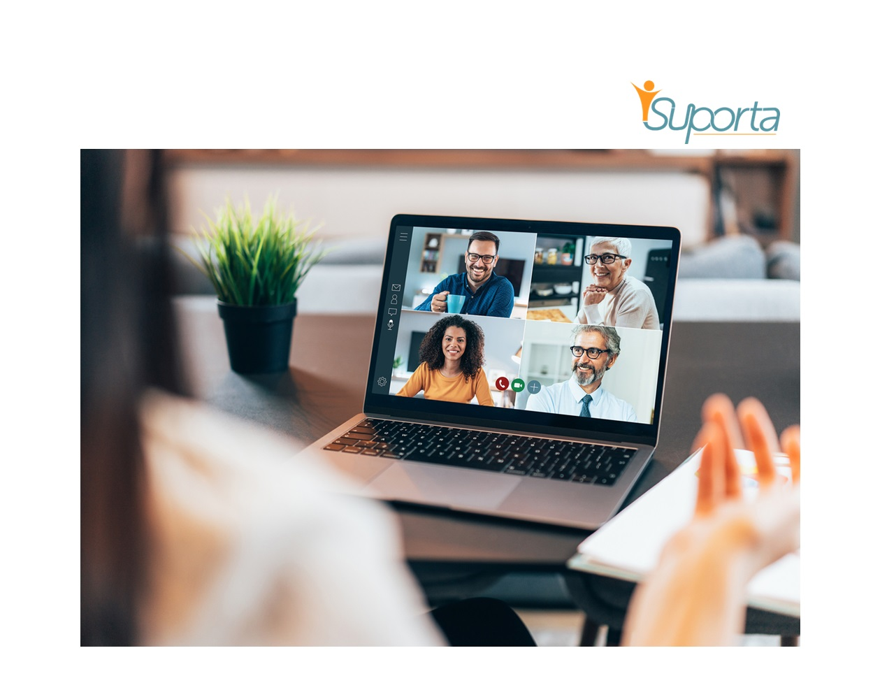 engaging remote employees on a laptop conference