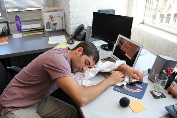 remote employee sleeping slacking off