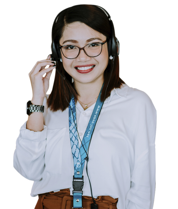smiling female remote employee in glasses
