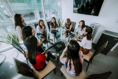 female remote employees in a meeting