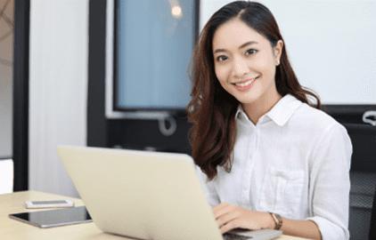 female remote employee in white