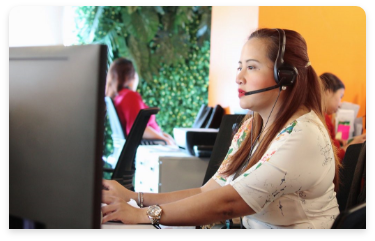 female call center agent working in a computer