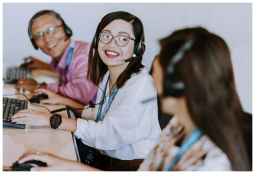 female remote staffing employee in glasses