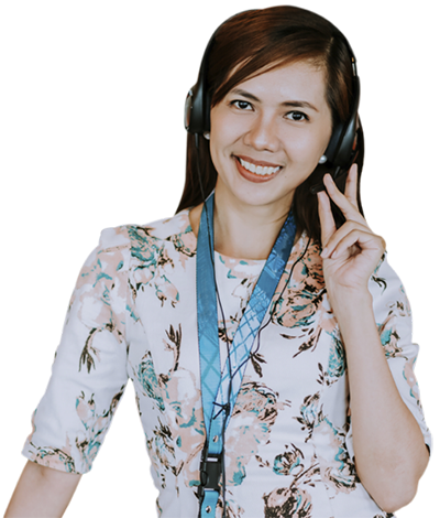 female call center agent smiling in a headset