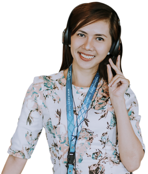 female remote staff smiling in a headset