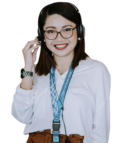 female remote employee in glasses and headset