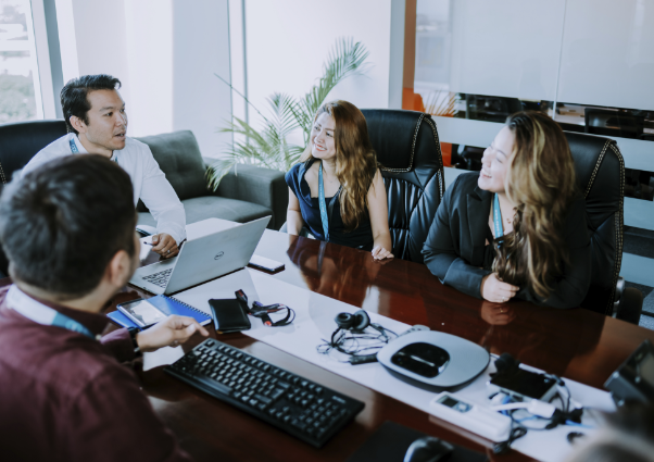 remote staffing executives in a meeting
