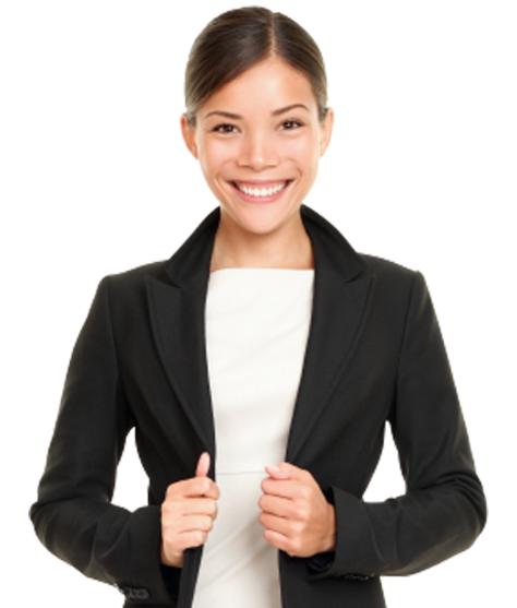 a female remote employee in a suit