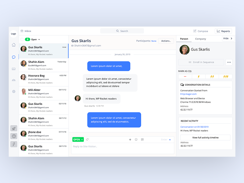 chat support software screenshot