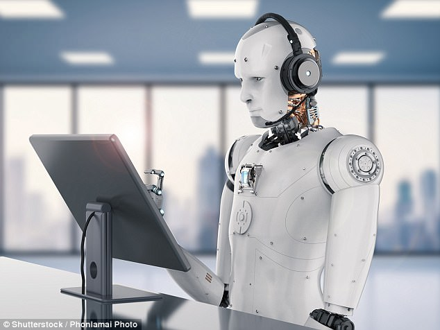 AI robot operating a Call Center computer