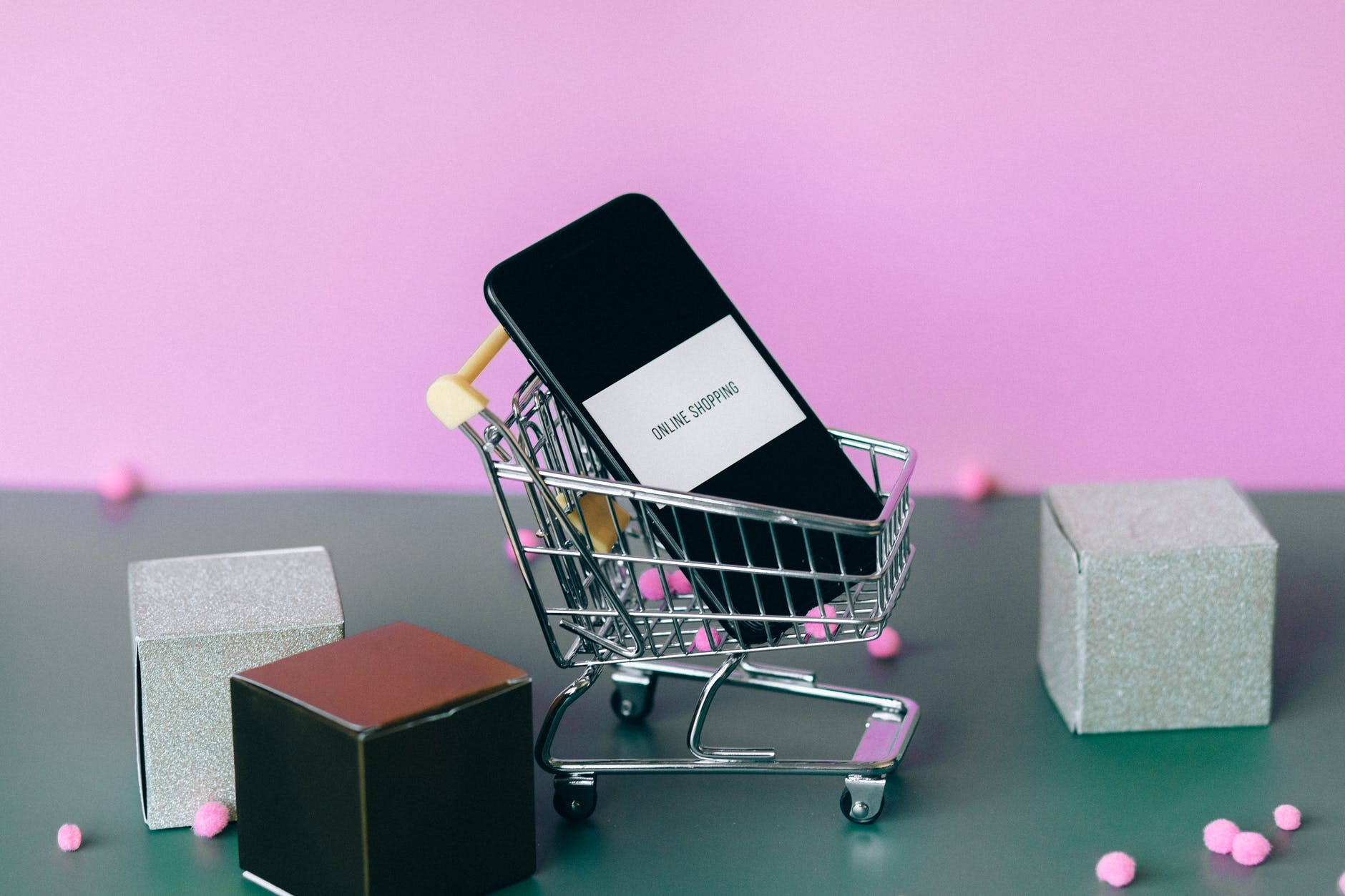 ecommerce miniature shopping cart
